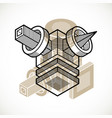 abstract three-dimensional shape design cube vector image vector image