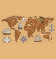 ancient cartoon world map with sea ships and vector image