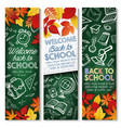 back to school education chalkboard banners vector image vector image