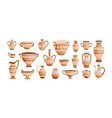 Bundle of ancient greek pottery isolated on white