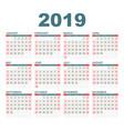 calendar 2019 year in simple style calendar vector image vector image