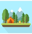 Camping with tend bonfire and nature landscape vector image