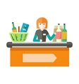 Cashier Behind the Store Counter vector image vector image