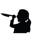 Children silhouette with knife in black color