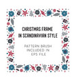 christmas frame and brush with corner tiles vector image vector image