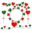 christmas heart balloons with rope vector image vector image