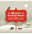 Christmas signboard and winter landscape vector image vector image