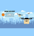 drone delivery with the package box against city vector image vector image