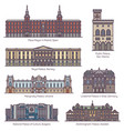 european historical royal palace buildings in line vector image vector image