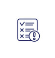 failed test line icon on white vector image vector image