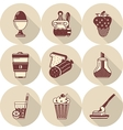 Flat round icons for tasty food vector image vector image