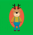 funny cartoon reindeer in striped shirt vector image vector image