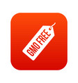 gmo free price tag i icon digital red vector image vector image