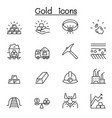 gold icon set in thin line style vector image vector image