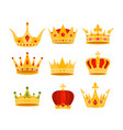 golden crown set cartoon flat vector image