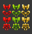 golden red and green bow icons set vector image vector image