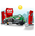 green cartoon car stay on gas station and fill vector image