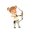 little girl practicing in archery kids physical vector image