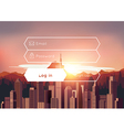 Login box with city sunset background vector image vector image