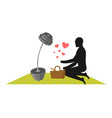 lover fitness man and barbell on picnic basket vector image