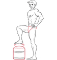 man and protein drinks vector image vector image