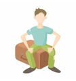 Man sitting on suitcase icon cartoon style vector image vector image