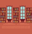 modern library empty interior with bookcase vector image vector image