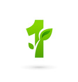Number one 1 eco leaves logo icon design template vector image vector image