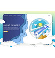 paper cut travel landing page website vector image