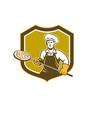 Pizza Maker Holding Peel Shield Retro vector image vector image