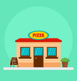 pizza street market shop background flat style vector image