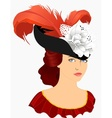 portrait of young lady in hat vector image vector image
