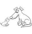 puppy and dog cartoon animal characters coloring vector image vector image