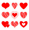 red heart icon set happy valentines day sign vector image vector image