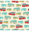 Retro seamless travel pattern of buses vector image vector image