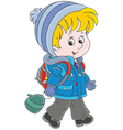 Schoolchild in winter clothes vector image vector image