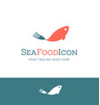 seafood logo fish with fork utensil shaped tail vector image vector image