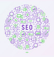 seo and development concept in circle vector image vector image