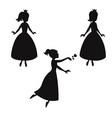 set of silhouettes of princess set of silhouettes vector image vector image