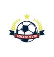soccer fever elegant ribbon footbal club emblem vector image vector image