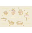 sweet dessert set background vector image