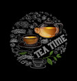 tea time hot beverage circle shape vector image