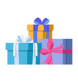 three gifts are stacked one on another vector image