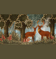 two deers in forest cartoon style vector image vector image