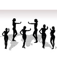 woman silhouette with hand gesture finger pointing vector image vector image