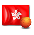 A ball in front of the flag of Hongkong vector image vector image