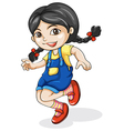 A happy Asian girl dancing vector image vector image