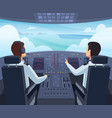 airplane cockpit pilots sitting front vector image vector image