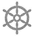 boat steering wheel mosaic of small circles vector image