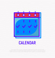 calendar thin line icon vector image